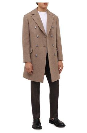 Мужской шерстяное пальто BRUNELLO CUCINELLI бежевого цвета, арт. MQ4219003D | Фото 2 (Материал внешний: Шерсть; Стили: Кэжуэл; Рукава: Длинные; Материал подклада: Купро; Мужское Кросс-КТ: пальто-верхняя одежда; Длина (верхняя одежда): До середины бедра)