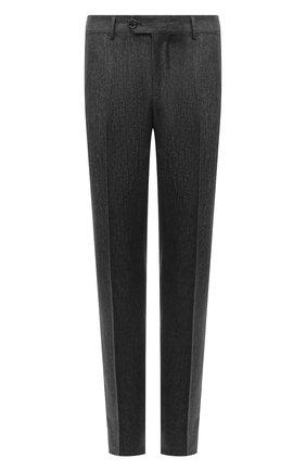 Мужские шерстяные брюки BRUNELLO CUCINELLI серого цвета, арт. ML476B1770 | Фото 1 (Материал внешний: Шерсть; Случай: Повседневный; Длина (брюки, джинсы): Стандартные; Стили: Кэжуэл)