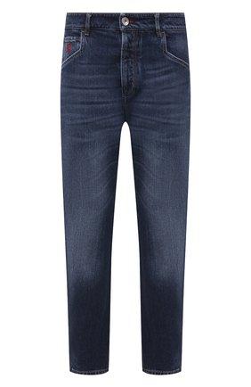 Мужские джинсы BRUNELLO CUCINELLI темно-синего цвета, арт. M074PQ3040 | Фото 1 (Длина (брюки, джинсы): Стандартные; Материал внешний: Хлопок; Силуэт М (брюки): Прямые; Стили: Кэжуэл; Детали: Потертости; Кросс-КТ: Деним)