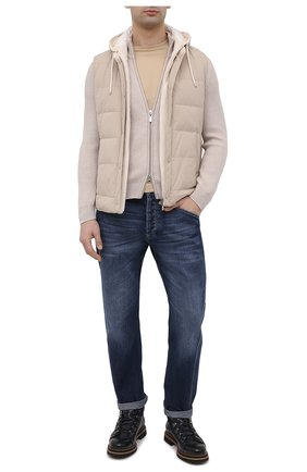 Мужские джинсы BRUNELLO CUCINELLI темно-синего цвета, арт. M074PQ3040 | Фото 2 (Длина (брюки, джинсы): Стандартные; Материал внешний: Хлопок; Силуэт М (брюки): Прямые; Стили: Кэжуэл; Детали: Потертости; Кросс-КТ: Деним)
