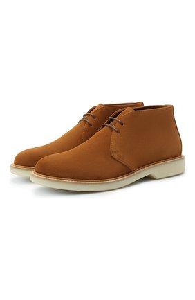 Мужские замшевые ботинки BRUNELLO CUCINELLI светло-коричневого цвета, арт. MZU0USP826   Фото 1 (Материал внутренний: Натуральная кожа; Мужское Кросс-КТ: Ботинки-обувь; Подошва: Плоская; Материал внешний: Замша)