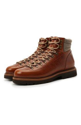 Мужские кожаные ботинки BRUNELLO CUCINELLI светло-коричневого цвета, арт. MZUWFMS890 | Фото 1 (Материал внутренний: Натуральная кожа; Мужское Кросс-КТ: зимние ботинки, Ботинки-обувь; Подошва: Плоская; Материал утеплителя: Натуральный мех)