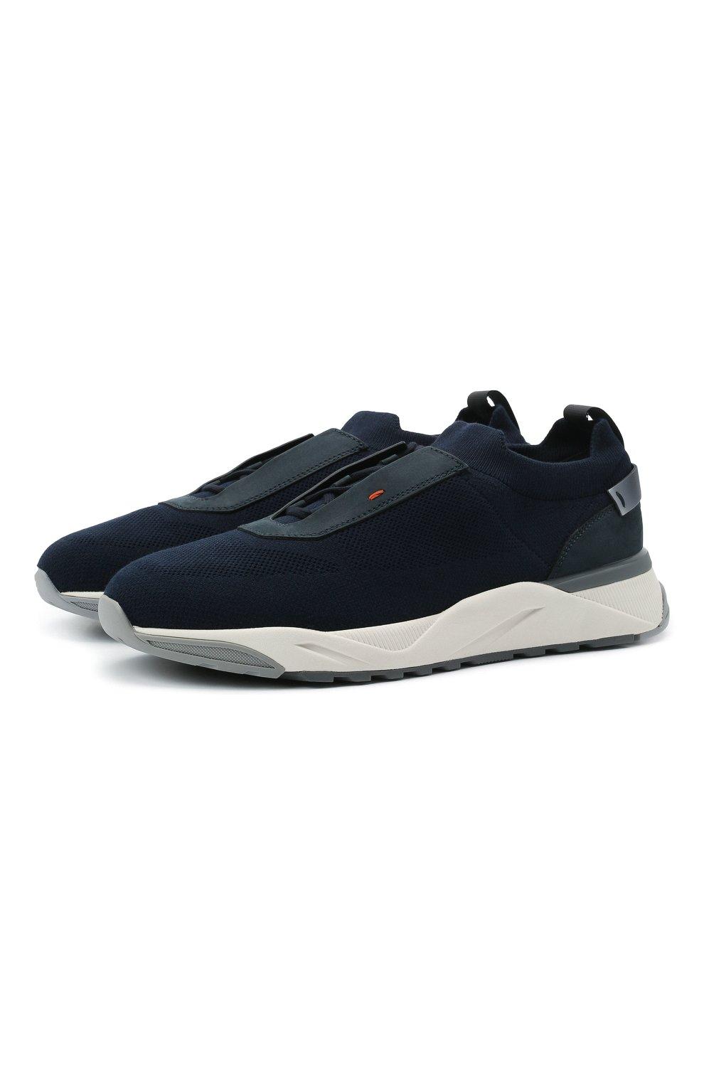Мужские текстильные кроссовки SANTONI темно-синего цвета, арт. MBI021601BGRNH0DU60 | Фото 1 (Материал внешний: Текстиль; Материал внутренний: Натуральная кожа, Текстиль; Подошва: Массивная; Стили: Спорт)