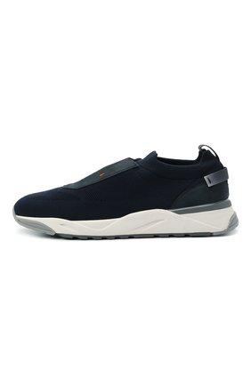 Мужские текстильные кроссовки SANTONI темно-синего цвета, арт. MBI021601BGRNH0DU60 | Фото 3 (Материал внешний: Текстиль; Материал внутренний: Натуральная кожа, Текстиль; Подошва: Массивная; Стили: Спорт)