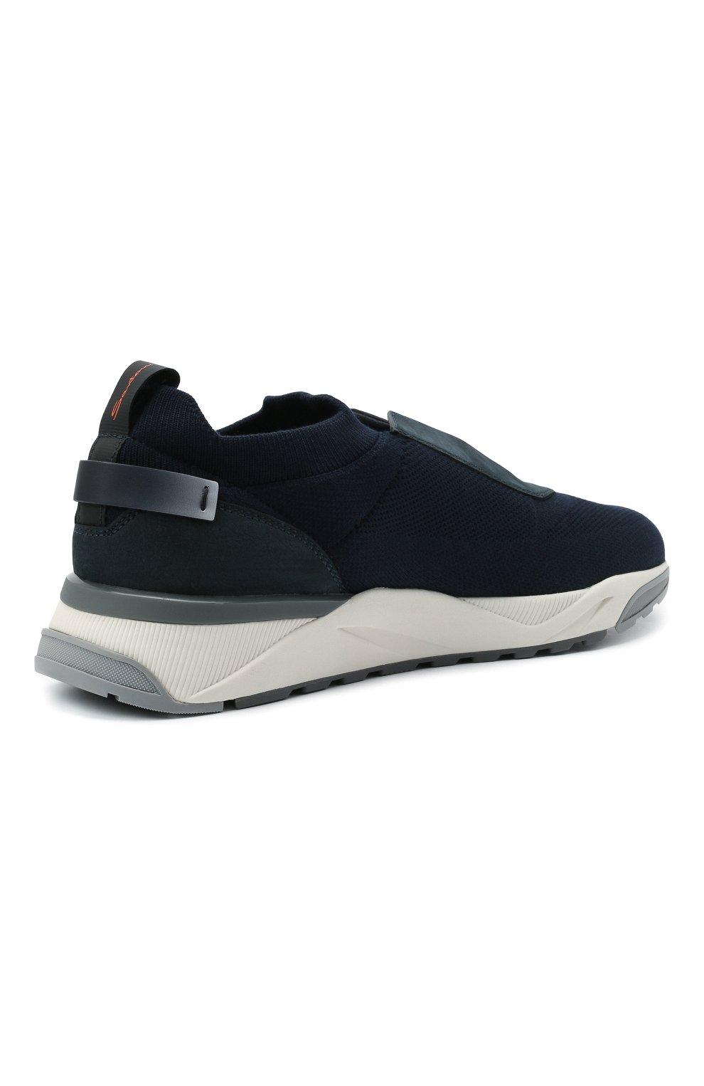 Мужские текстильные кроссовки SANTONI темно-синего цвета, арт. MBI021601BGRNH0DU60 | Фото 4 (Материал внешний: Текстиль; Материал внутренний: Натуральная кожа, Текстиль; Подошва: Массивная; Стили: Спорт)