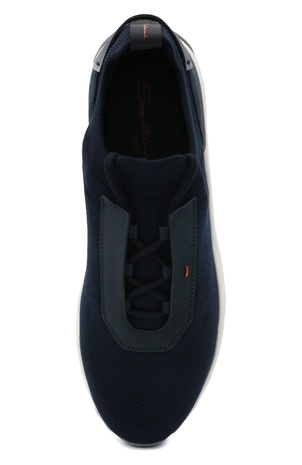 Мужские текстильные кроссовки SANTONI темно-синего цвета, арт. MBI021601BGRNH0DU60 | Фото 5 (Материал внешний: Текстиль; Материал внутренний: Натуральная кожа, Текстиль; Подошва: Массивная; Стили: Спорт)