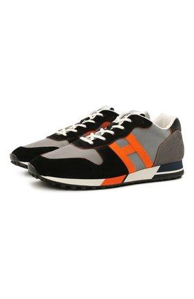 Мужские комбинированные кроссовки HOGAN хаки цвета, арт. HXM3830D092QEP | Фото 1