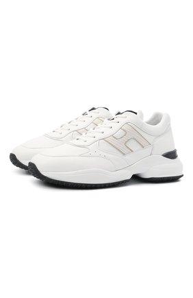 Мужские кожаные кроссовки HOGAN белого цвета, арт. HXM5450DP01QEQ | Фото 1