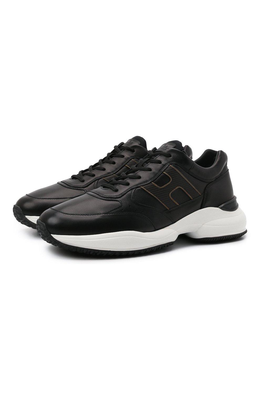 Мужские кожаные кроссовки HOGAN черного цвета, арт. HXM5450DP01QEQ | Фото 1 (Материал внутренний: Текстиль; Подошва: Массивная; Стили: Спорт)