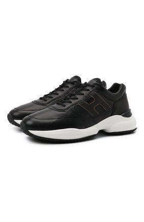 Мужские кожаные кроссовки HOGAN черного цвета, арт. HXM5450DP01QEQ | Фото 1