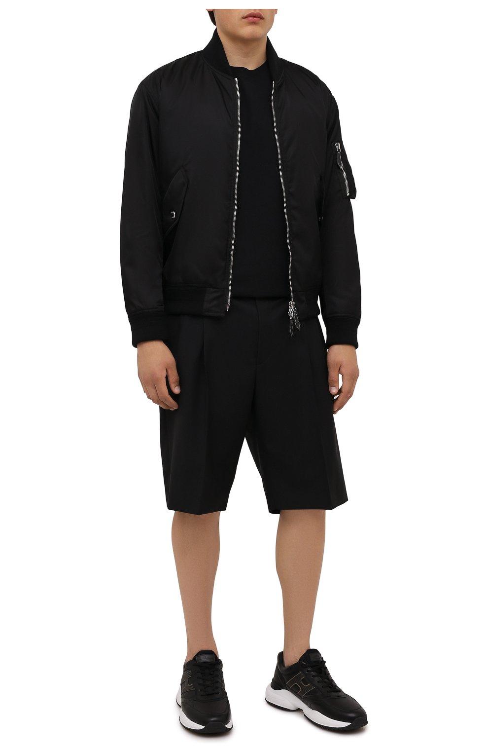Мужские кожаные кроссовки HOGAN черного цвета, арт. HXM5450DP01QEQ | Фото 2 (Материал внутренний: Текстиль; Подошва: Массивная; Стили: Спорт)