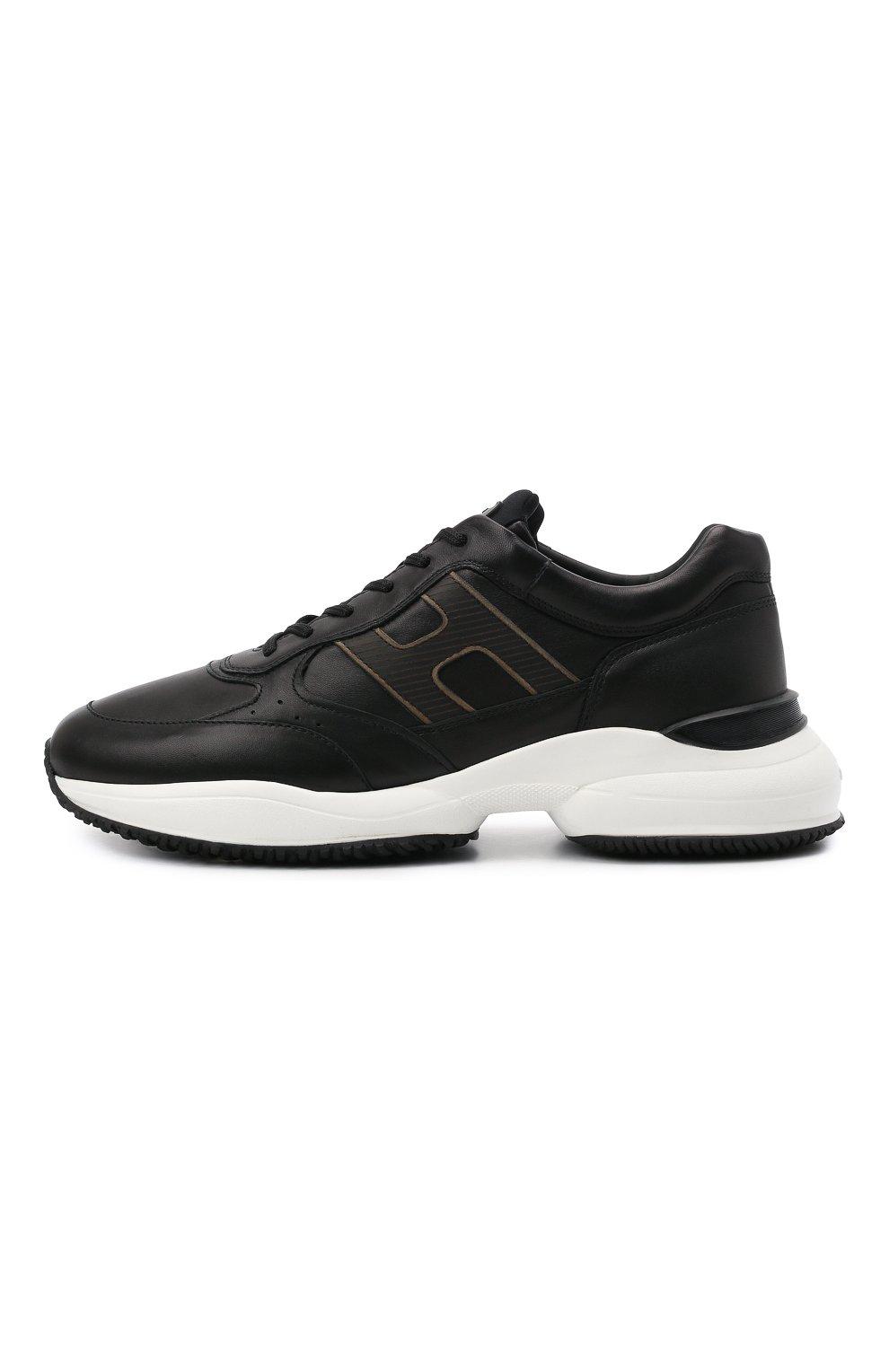 Мужские кожаные кроссовки HOGAN черного цвета, арт. HXM5450DP01QEQ | Фото 3 (Материал внутренний: Текстиль; Подошва: Массивная; Стили: Спорт)