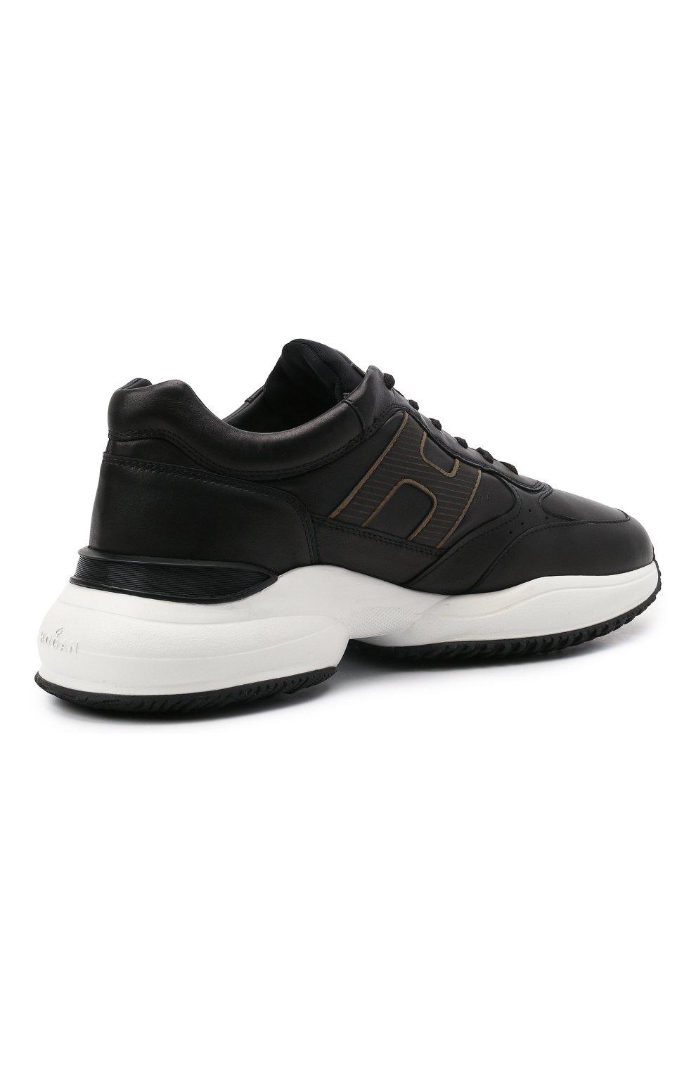 Мужские кожаные кроссовки HOGAN черного цвета, арт. HXM5450DP01QEQ | Фото 4 (Материал внутренний: Текстиль; Подошва: Массивная; Стили: Спорт)