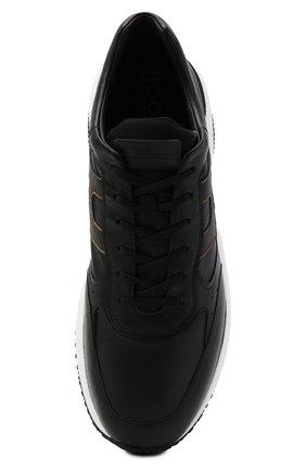 Мужские кожаные кроссовки HOGAN черного цвета, арт. HXM5450DP01QEQ | Фото 5 (Материал внутренний: Текстиль; Подошва: Массивная; Стили: Спорт)