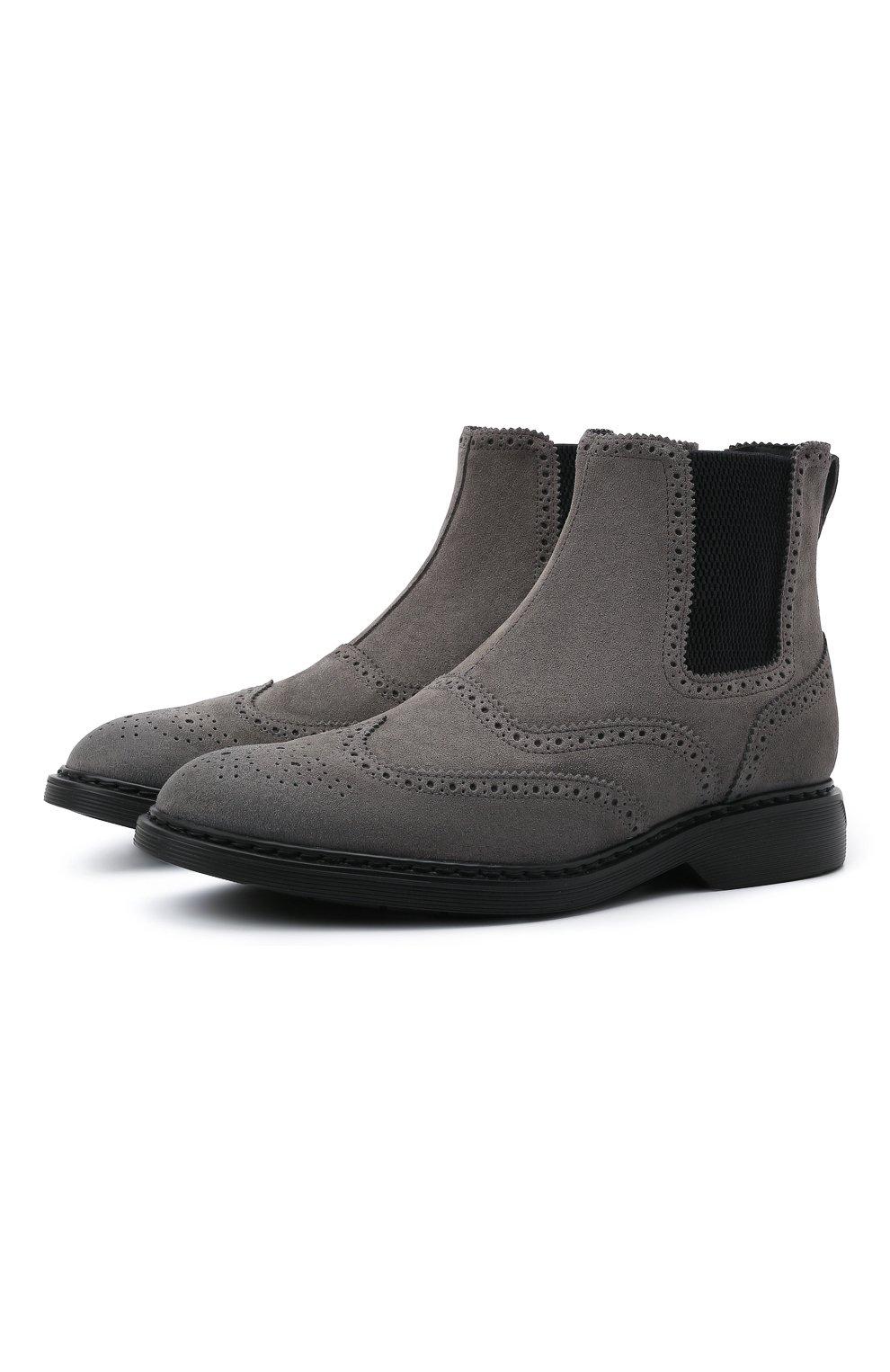 Мужские замшевые челси HOGAN серого цвета, арт. HXM5760DT40HG0 | Фото 1 (Материал внутренний: Текстиль; Подошва: Плоская; Мужское Кросс-КТ: Сапоги-обувь, Челси-обувь; Материал внешний: Замша)