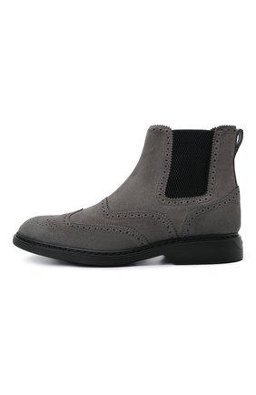 Мужские замшевые челси HOGAN серого цвета, арт. HXM5760DT40HG0 | Фото 3 (Материал внутренний: Текстиль; Подошва: Плоская; Мужское Кросс-КТ: Сапоги-обувь, Челси-обувь; Материал внешний: Замша)