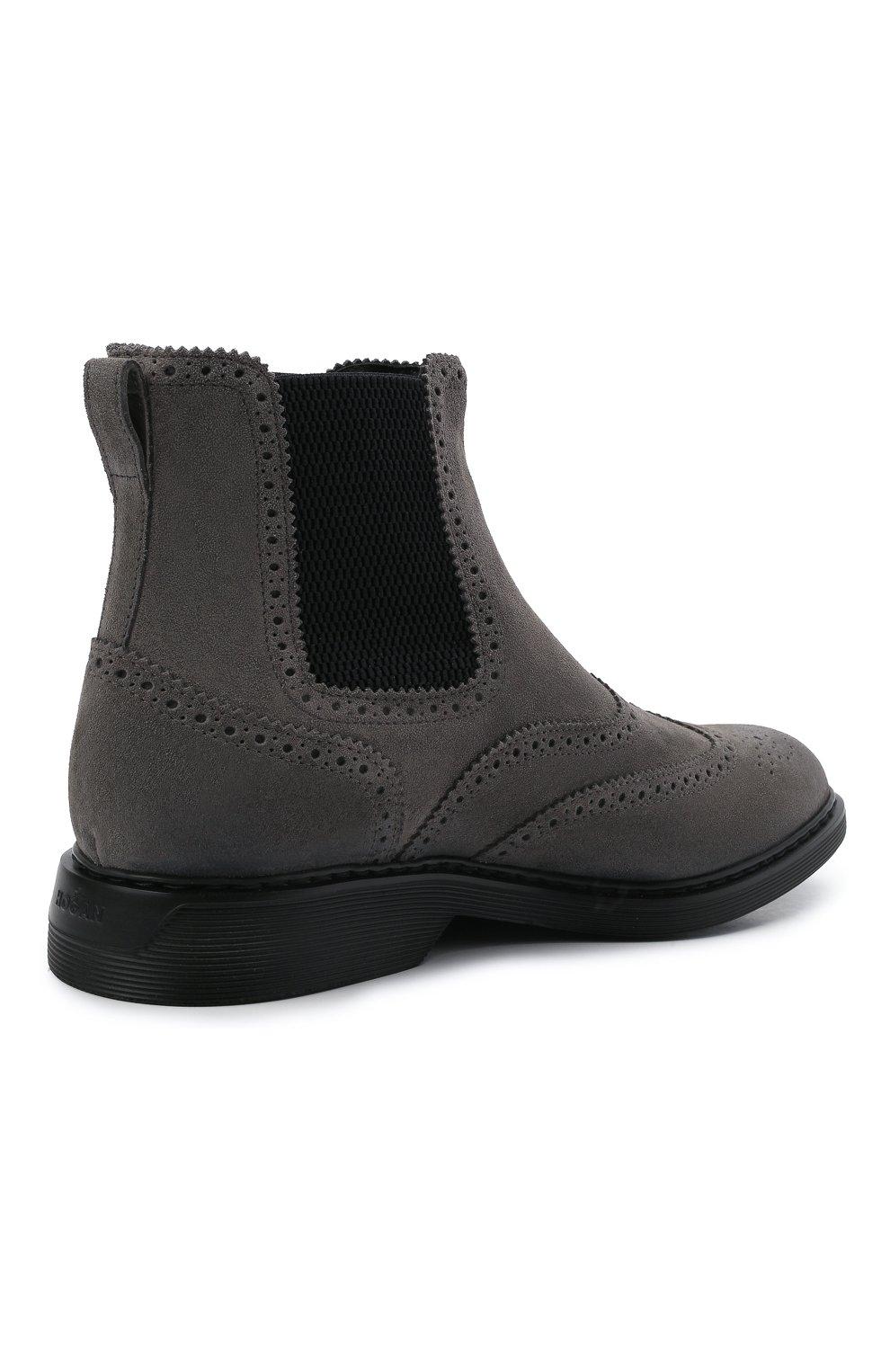 Мужские замшевые челси HOGAN серого цвета, арт. HXM5760DT40HG0 | Фото 4 (Материал внутренний: Текстиль; Подошва: Плоская; Мужское Кросс-КТ: Сапоги-обувь, Челси-обувь; Материал внешний: Замша)