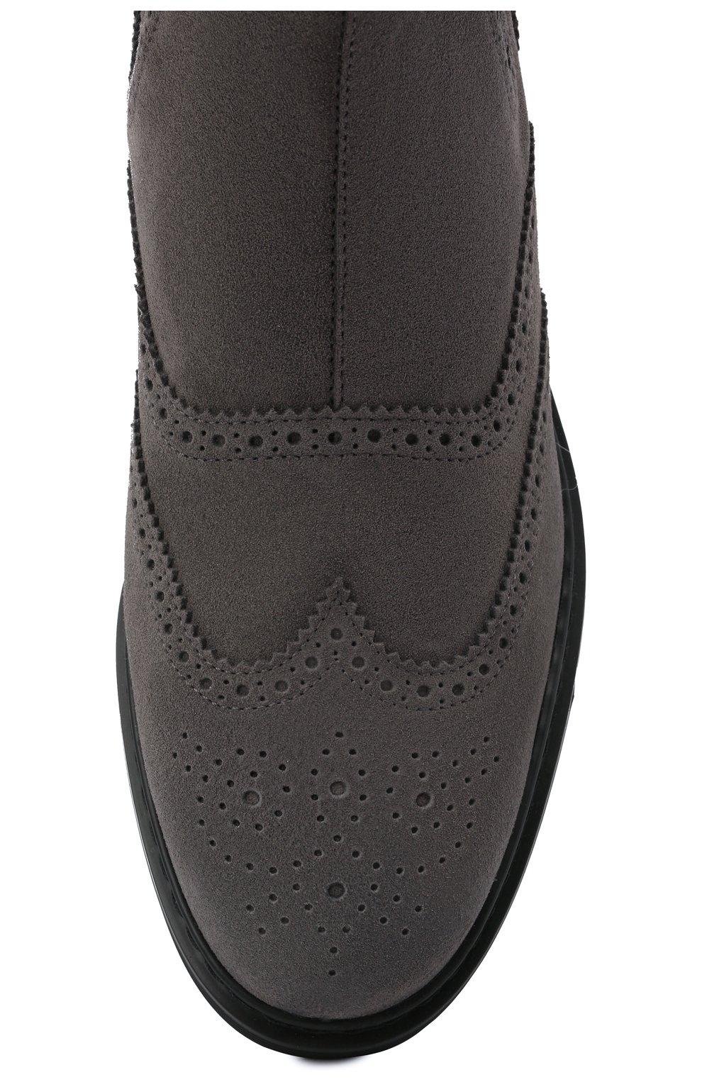Мужские замшевые челси HOGAN серого цвета, арт. HXM5760DT40HG0 | Фото 5 (Материал внутренний: Текстиль; Подошва: Плоская; Мужское Кросс-КТ: Сапоги-обувь, Челси-обувь; Материал внешний: Замша)