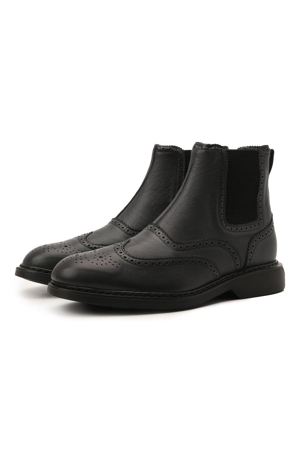 Мужские кожаные челси HOGAN темно-серого цвета, арт. HXM5760DT40Q7Q | Фото 1 (Материал внутренний: Текстиль; Подошва: Плоская; Мужское Кросс-КТ: Сапоги-обувь, Челси-обувь)