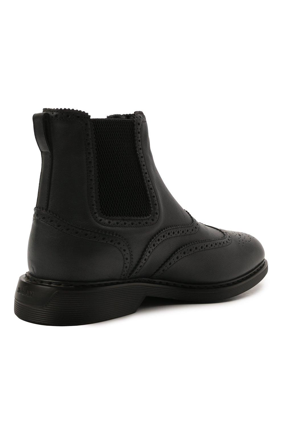 Мужские кожаные челси HOGAN темно-серого цвета, арт. HXM5760DT40Q7Q | Фото 4 (Материал внутренний: Текстиль; Подошва: Плоская; Мужское Кросс-КТ: Сапоги-обувь, Челси-обувь)