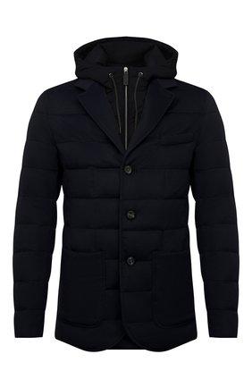 Мужская пуховая куртка HERNO темно-синего цвета, арт. PI075UR/38017 | Фото 1 (Материал внешний: Шерсть, Кашемир; Длина (верхняя одежда): Короткие; Стили: Кэжуэл; Мужское Кросс-КТ: пуховик-короткий; Рукава: Длинные; Материал подклада: Синтетический материал; Кросс-КТ: Куртка; Материал утеплителя: Пух и перо)