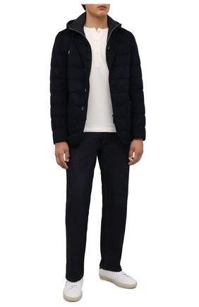 Мужская пуховая куртка HERNO темно-синего цвета, арт. PI075UR/38017 | Фото 2 (Материал внешний: Шерсть, Кашемир; Длина (верхняя одежда): Короткие; Стили: Кэжуэл; Мужское Кросс-КТ: пуховик-короткий; Рукава: Длинные; Материал подклада: Синтетический материал; Кросс-КТ: Куртка; Материал утеплителя: Пух и перо)