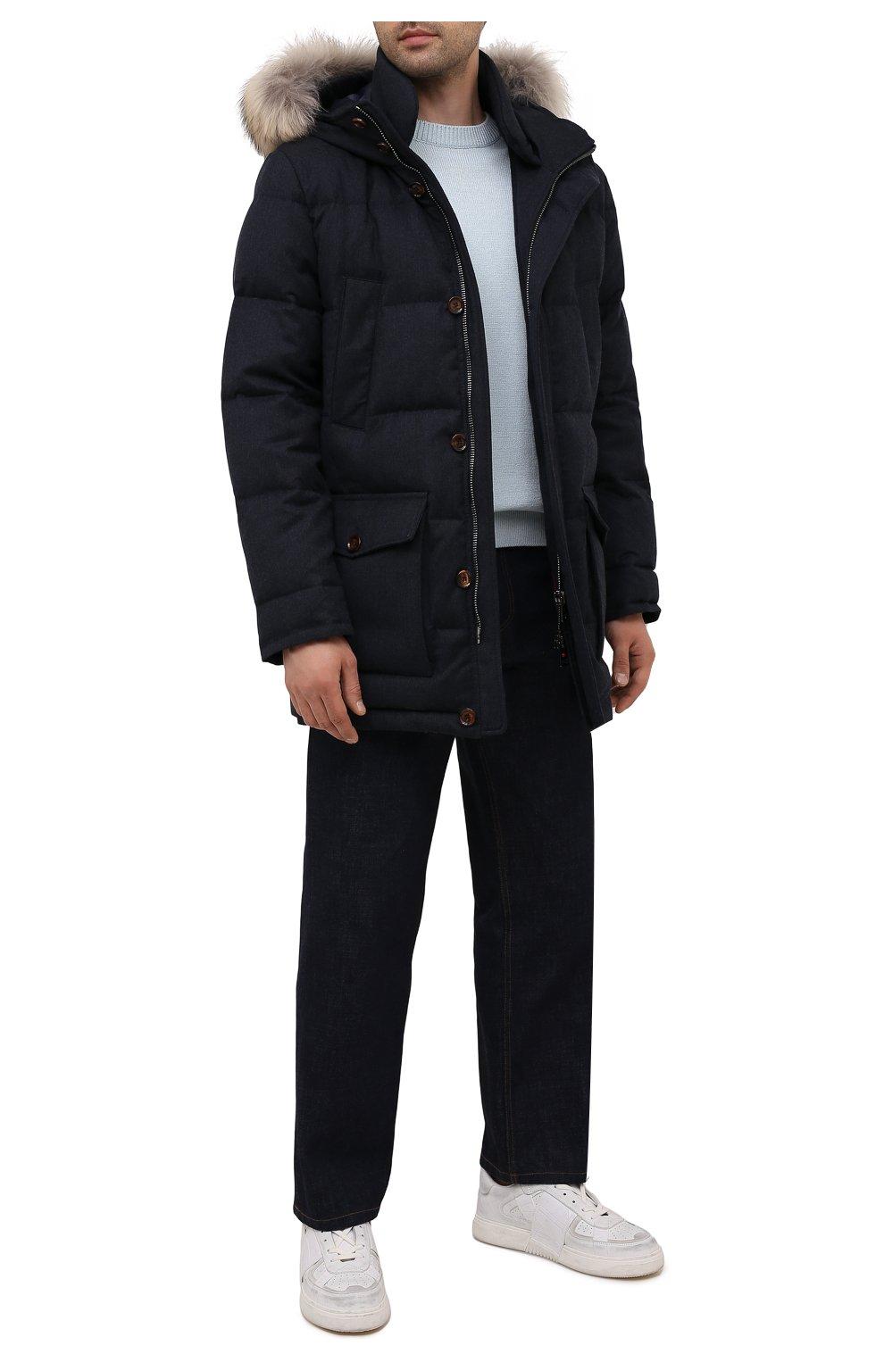 Мужская пуховик с меховой отделкой KIRED синего цвета, арт. WANIEW7405008002   Фото 2 (Кросс-КТ: Куртка; Мужское Кросс-КТ: пуховик-короткий; Материал внешний: Шерсть; Рукава: Длинные; Длина (верхняя одежда): До середины бедра; Материал подклада: Синтетический материал; Материал утеплителя: Пух и перо; Стили: Кэжуэл)