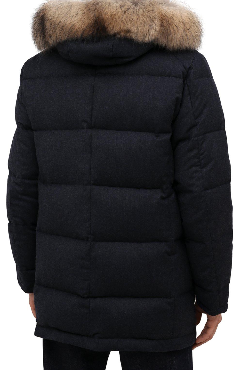 Мужская пуховик с меховой отделкой KIRED синего цвета, арт. WANIEW7405008002   Фото 4 (Кросс-КТ: Куртка; Мужское Кросс-КТ: пуховик-короткий; Материал внешний: Шерсть; Рукава: Длинные; Длина (верхняя одежда): До середины бедра; Материал подклада: Синтетический материал; Материал утеплителя: Пух и перо; Стили: Кэжуэл)