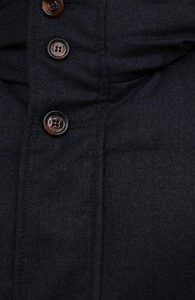 Мужская пуховик с меховой отделкой KIRED синего цвета, арт. WANIEW7405008002   Фото 5 (Кросс-КТ: Куртка; Мужское Кросс-КТ: пуховик-короткий; Материал внешний: Шерсть; Рукава: Длинные; Длина (верхняя одежда): До середины бедра; Материал подклада: Синтетический материал; Материал утеплителя: Пух и перо; Стили: Кэжуэл)