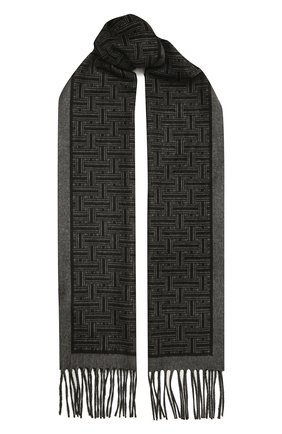 Мужской шарф из шелка и кашемира BRIONI темно-серого цвета, арт. 031E00/01351 | Фото 1