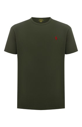 Мужская хлопковая футболка POLO RALPH LAUREN зеленого цвета, арт. 710811284 | Фото 1 (Длина (для топов): Стандартные; Материал внешний: Хлопок; Принт: Без принта; Рукава: Короткие)