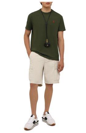 Мужская хлопковая футболка POLO RALPH LAUREN зеленого цвета, арт. 710811284 | Фото 2 (Длина (для топов): Стандартные; Материал внешний: Хлопок; Принт: Без принта; Рукава: Короткие)