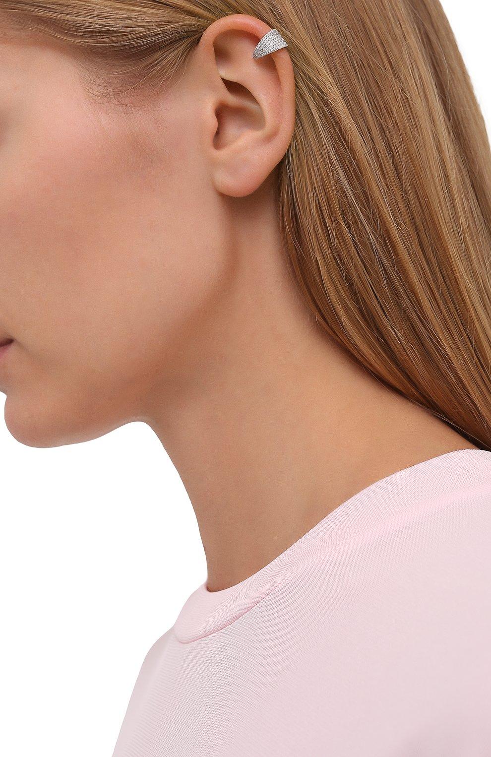 Женские моносерьга-кафф J-POINT серебряного цвета, арт. КФ857.16.250221.4W | Фото 2 (Кросс-КТ: моносерьга; Материал: Металл)