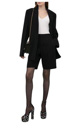 Женские текстильные босоножки jodie SAINT LAURENT черно-белого цвета, арт. 657456/2WA00 | Фото 2 (Материал внутренний: Натуральная кожа; Каблук тип: Устойчивый; Материал внешний: Текстиль; Подошва: Платформа; Каблук высота: Высокий)