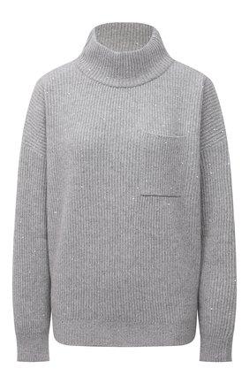 Женский свитер из кашемира и шерсти BRUNELLO CUCINELLI серого цвета, арт. MBM755804 | Фото 1