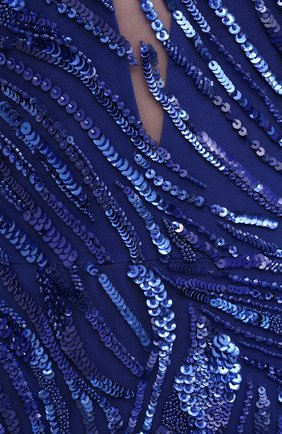 Женское платье с пайетками ZUHAIR MURAD синего цвета, арт. DRS21016/EMCA001 | Фото 5 (Рукава: Длинные; Случай: Вечерний; Материал внешний: Синтетический материал; Длина Ж (юбки, платья, шорты): Макси; Стили: Романтичный; Материал подклада: Шелк; Женское Кросс-КТ: Платье-одежда)