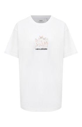 Женская хлопковая футболка BURBERRY белого цвета, арт. 8042984 | Фото 1