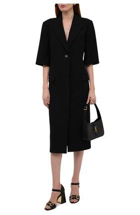 Женские кожаные босоножки baby GUCCI черного цвета, арт. 655411/BK000   Фото 2