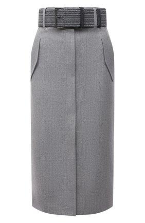 Женская шерстяная юбка BRUNELLO CUCINELLI светло-серого цвета, арт. ME226G3147   Фото 1 (Материал внешний: Шерсть; Длина Ж (юбки, платья, шорты): Миди; Женское Кросс-КТ: Юбка-одежда; Стили: Кэжуэл; Материал подклада: Синтетический материал)