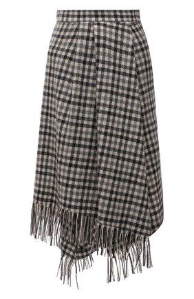 Женская шерстяная юбка BRUNELLO CUCINELLI бежевого цвета, арт. MB039G3141 | Фото 1 (Материал внешний: Шерсть; Длина Ж (юбки, платья, шорты): Миди; Материал подклада: Купро; Женское Кросс-КТ: Юбка-одежда; Стили: Кэжуэл)