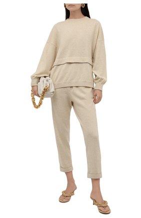 Женские брюки из шерсти и кашемира BRUNELLO CUCINELLI светло-бежевого цвета, арт. M16127899   Фото 2 (Материал внешний: Шерсть, Кашемир; Стили: Спорт-шик; Женское Кросс-КТ: Брюки-одежда; Длина (брюки, джинсы): Укороченные; Кросс-КТ: Трикотаж; Силуэт Ж (брюки и джинсы): Прямые)