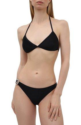 Женский раздельный купальник GUCCI черного цвета, арт. 653206/XHADP | Фото 2 (Материал внешний: Синтетический материал; Женское Кросс-КТ: Раздельные купальники)