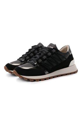 Женские комбинированные кроссовки BRUNELLO CUCINELLI черного цвета, арт. MZSFG2037 | Фото 1 (Материал внутренний: Текстиль; Подошва: Платформа)