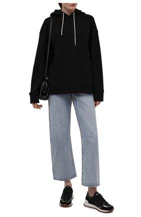 Женские комбинированные кроссовки BRUNELLO CUCINELLI черного цвета, арт. MZSFG2037 | Фото 2 (Материал внутренний: Текстиль; Подошва: Платформа)
