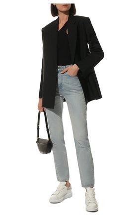 Женские кожаные кеды ALEXANDER MCQUEEN светло-серого цвета, арт. 553770/WHGP7 | Фото 2
