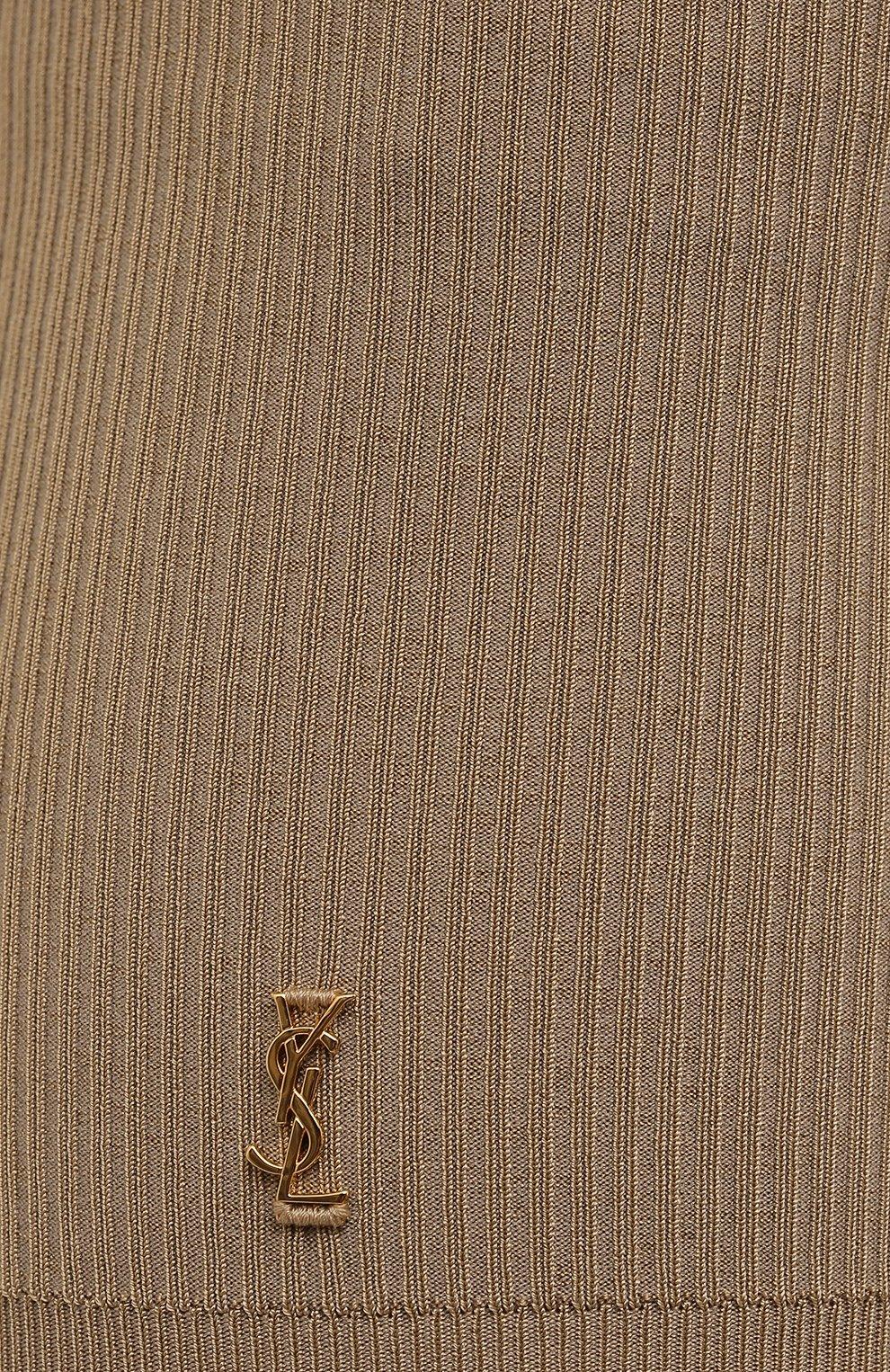 Женские шорты из вискозы SAINT LAURENT бежевого цвета, арт. 660275/Y75BE   Фото 5 (Женское Кросс-КТ: Шорты-одежда; Стили: Гламурный; Длина Ж (юбки, платья, шорты): Мини; Материал внешний: Вискоза)