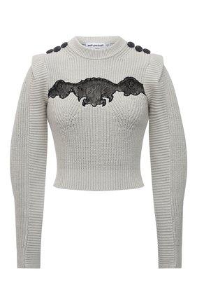 Женский свитер из хлопка и шерсти SELF-PORTRAIT светло-зеленого цвета, арт. PF21-001 | Фото 1