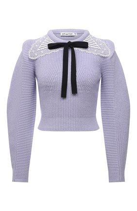 Женский свитер из хлопка и шерсти SELF-PORTRAIT сиреневого цвета, арт. PF21-001A | Фото 1