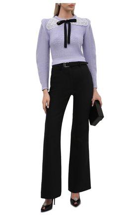 Женский свитер из хлопка и шерсти SELF-PORTRAIT сиреневого цвета, арт. PF21-001A | Фото 2