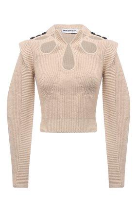 Женский свитер из хлопка и шерсти SELF-PORTRAIT светло-бежевого цвета, арт. PF21-001D | Фото 1